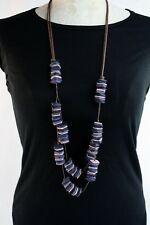 Necklace Handmade Layered Natural Coco Wood Beads Purple Blue Black & Light Pink
