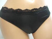 Jezebel Lace Trim Black Thong Panty,   #J5117S