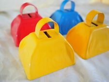 Set of 4-Primary Color Metal Cow Bells-Red/Blue/Yellow-Mus ic Fun/Learning-Age 4+