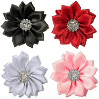 EG_ 10Pcs Upick Satin Ribbon Flowers Bows Rhinestone Appliques Craft Wedding Flo