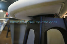 Erik Buck Swivel Counter Stool in Black Oak Wood / White Standard Leather