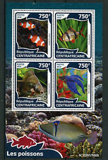 Central African Rep 2016 MNH Fishes 4v M/S Fish Clownfish Tiger Barb Carp Stamps