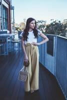 Linen high waist wide leg pants with pockets in mustard