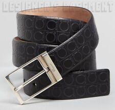 SALVATORE FERRAGAMO black 46 stamped GANCINI leather palladium buckle Belt NWT