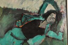 Edmund Georg Pielmann (1923-85) Muse im Gras Hauptwerk Expressives Ölgemälde