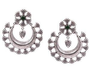 Oxidized Silver Plated Handmade Women wear Stone Earrings Jhumki Jewelry women