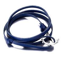 Blue Men & Women Bracelet Leather Stainless Steel Anchor Fashion Multi-layer