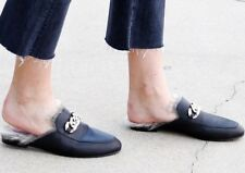 NEW JEFFREY CAMPBELL APFEL BLACK LEATHER LINED FAUX FUR MULES SIZE 6 $145
