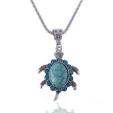 Cute Women's Boho Turquoise Rhinestone Turtle Pendant Necklace Jewelry Gift Hot