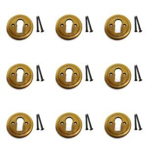 9 medium 24mm KEY hole covers aged stye vintage solid 100% brass watson 145A