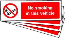 No se fume en este vehículo Auto adhesivo pegatinas Etiquetas signos X 10