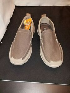 NWOB/NWT US9.5/EUR42.5 SKECHERS RELAXED FIT TAUPE SLIP ON SPORT LOAFER SHOES
