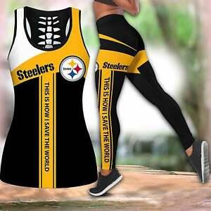 Pittsburgh Steelers 2PCS Women's Tank Top Leggings High Waist Stretch Yoga Pants