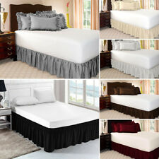 Elastic Bed Ruffle Skirt Fit Wrap Around Twin Full Queen King Bed Solid Color