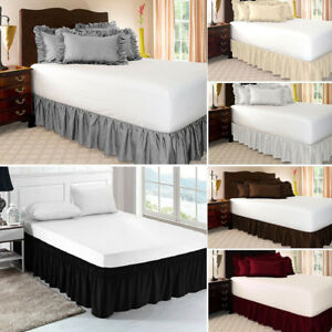 Valance Elastic Ruffled Bed Skirt: Wrap Around Easy Fit Queen/King Size