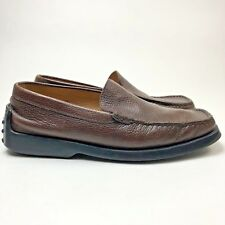 TOD's Mens Shoe 8.5 Loafers Driving Casual Shoes Brown Leather Slip on Moc Toe