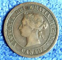 1881 -H CANADA LARGE ONE CENT COPPER COIN 1 PENNY QUEEN VICTORIA QV KM 7 BRONZE
