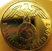 Nazi German 5 Reichspfennig 1937 Gold Colour Coin Third Reich Eagle Swastika WW