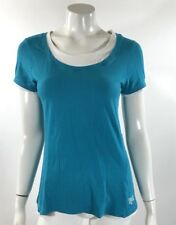 Everlast Womens Top Size Medium Blue White Short Sleeve Athletic Gym Tee Shirt