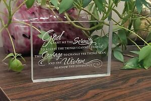 Serenity Prayer -clear acrylic plaque Alcoholics Anonymous AA support gift
