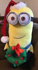 Gemmy Plush Minion Bob Greeter Santa Hat And Wreath Christmas Decoration 24""