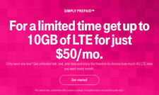 Preloaded Tmobile sim card With Prepaid plan $50 10GB 4G LTE Free First Month