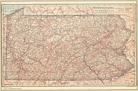 1914 Antique Pennsylvania State Map Original Vintage Map of Pennsylvania 8088