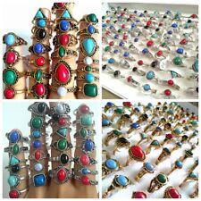 Bulk lots 100pcs/lot Wholesale Women's Girls Gold & Silver Stone turquoise Rings