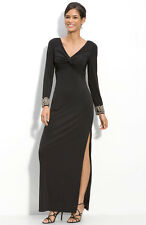 JS Boutique Embellished Cuff Jersey Gown Dress Black Size 6