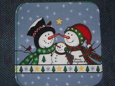 "6 fabric prints - SNOWMAN FAMILY,  8""x8"""