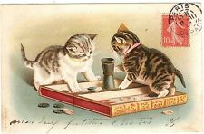 POSTCARD CATS PLAYING BACKGAMMON HELENA MAGUIRE 1907