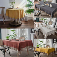 Tablecloth Cotton Ruffle Table Cloth Cover Rectangle Round Dining Party Decor
