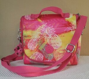 KIPLING KICHIROU AC7256 Insulated Lunch Bag Pink Tropical w/ Monkey Keychain EUC