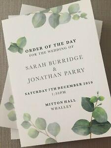 Wedding Order of Service | Foliage | Botanical | Eucalyptus | Folded Card