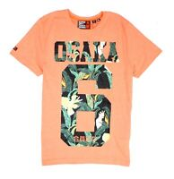Superdry Mens T-Shirt Orange Size Medium M Osaka Tropical 6 Graphic Tee $29 011