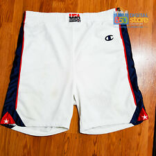 Team USA 2000 Olympic Champion Authentic Pro Cut PE Basketball White Shorts 44 x