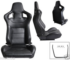 1 PAIR BLACK PVC LEATHER RACING SEATS RECLINABLE FIT FOR ISUZU NEW