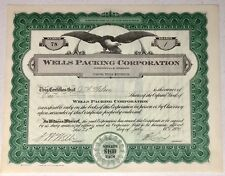 State Of Oregon Mcminnville Wells Packing Co Stock Certificate Wilson Share 1929
