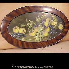 Great Antique Oval Fruit Still Life Chalk Pastel Grain Painted Frame