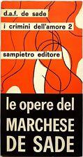 Donatien A. François de Sade, I crimini dell'amore 2, Ed. Sampietro, 1968
