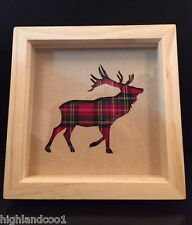 Scottish stag with tartan background picture in box frame