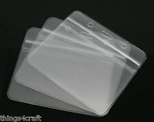 ID Badge Card Plastic Pocket Holder Clear Pouches for lanyards 98 x 86mm