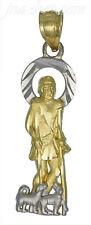 14K Solid Gold 2Tone Saint Lazarus San Lazaro Diamond- Cut Charm Pendant