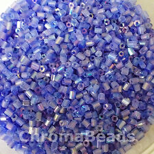 50g glass HEX seed beads - Mid Blue Rainbow - size 11/0 (approx 2mm) 2-cut
