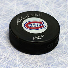 Elmer Lach Montreal Canadiens Autographed Puck with HOF Inscription