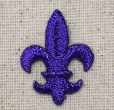 Iron On Embroidered Applique Patch SMALL Purple Fleur De Lis Saints Mardi Gras