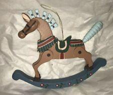 Vintage Wood Rocking Horse Christmas Ornament