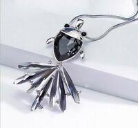 Damen Halskette mit Anhänger Silber 80cm Schmuck Pullover lange Kette Fisch M42