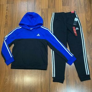 adidas Youth Boys Tracksuit TRICOT Hoodie PANTS Set Size 10-12 New