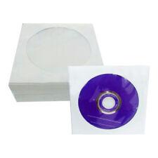 100 Pcs CD DVD Disc Paper Sleeves Envelopes Storage Clear Windows Bag Flap Case